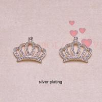 adornos de diamantes de imitación al por mayor-(J0655) adorno de diamantes de imitación de metal de 27 mm x 23 mm, todos los cristales, plata o chapado en oro rosa, forma de corona