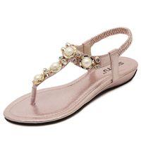 Wholesale Gold Flip Flops For Women - 2017 New Sandals Bohemia Clip Toe Flat Flip Flops Beading Flip-flops for Women's Shoes with Flat Sandals Sweet Elastic Band Slipper