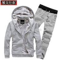 hoody tişörtü kalın toptan satış-Toptan-Moda 2016 Sonbahar kış Yeni erkek Konfor Artı Kalın Kadife Kapşonlu Sıcak Hoodies Sweatshirt Hareket Rahat Pantolon Ceket Kaban