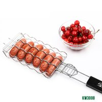Wholesale Dog Aprons - grill audi New BBQ Barbecue Sausage Grilling Basket Hot Dog Rack Metal Mesh Baskets Grill Rack Barbecue Baskets Great grill for 6