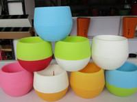 ingrosso piante in vaso di plastica-Vasi di fiori colorati Mini Pot di plastica riciclati Perfetto per vasi di fiori di piante grasse Vasi da fiori rigogliosi di fiori