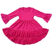 Wholesale Tunic Tops Ruffles - 20 Colors wholesale baby girls icing ruffle tops children cotton high low tunic kids Fashion dovetail knit dress