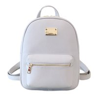 Wholesale Back School Backpacks - Women Backpack Small Size Black PU Leather Women's Backpacks Fashion School Girls Bags Female Back Pack Famous Brand mochilas