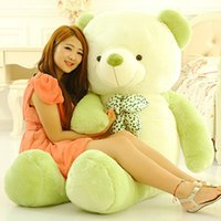 Wholesale Lovely Big Teddy Bear - 100cm large plush bow Teddy bear toy stuffed big new lovely green  brown   purple bear gift doll