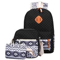 mochila bonito para laptop venda por atacado-Atacado - 3 PC / Set Elegante Impressão em Canvas Mochila Mulheres Mochilas Escolares para Adolescentes Meninas Bookbags Laptop Mochilas Femininas Bagpack Sac