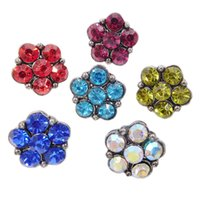 Wholesale diy jewelry crystal 12mm - B066 Noosa 6 Crystal Star Flower Chunks 12mm Mini Ginger Snap Button Jewelry for Noosa DIY Bracelets