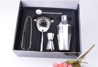 Wholesale Drink Mixer Kit - 5Pcs set Stainless Steel Cocktail Shaker Mixer Drink Bartender Kit Bars Set Tools