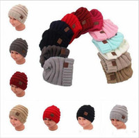 Wholesale Skully Skulls Fashion Hats - kids Winter Warm Hat Knitted CC Hat Label Children Simple Chunky Stretchable kids Knitted Beanies Baby Hat Beanie Skully Hats YYA275