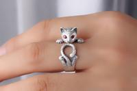 vintage maus großhandel-ZHF Schmuck Maus Ring Echtes 925 Sterling Silber Schmuck für Frauen Klassische Vintage Geschenk Für Mädchen Einstellbare größe