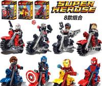 Wholesale Iron Rider - Marvel Super Heroes The Avengers Iron Man Hulk Batman Captain America Building Blocks Rider With Motorcycle Minifigure Education Bricks Toys