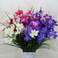 Wholesale Display 14 - Artificial Orchid Flowers 7 Bunches 14 Heads Freesia Wedding Silk Flowers Layout Props Party Home Decor Bouquets Real Looking Flower