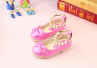 Enfants Nouveau Bowknot Princesse Chaussures Rose / rouge Bande Soft Sole PU Cuir Mode Bowknot Rhinestone Flower Girls Chaussures