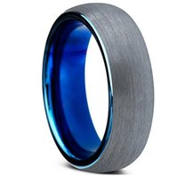 Wholesale Comfort Day - Tungsten Wedding Band Ring 6mm for Men Women Comfort Fit Blue Round Domed Brushed