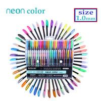 Wholesale Neon Pens - Art stationery 12 48 Color Gel Pens Set Refills Pastel Neon Glitter Sketch Drawing Color Pen Set School Marker