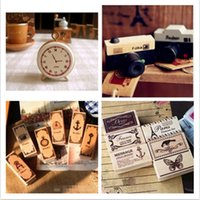 Wholesale Wooden Crowns Wholesale - Wholesale- DIY Vintage Retro Wooden Stamp Old Ancient Camera Bicycle Crown Key Butterfly Stamps for Decor Scrapbooking Free shipping 604