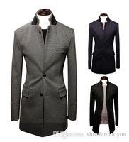 Wholesale Tweed Wool Coat Mens - Nice Winter Fashion Wool Parkas Men Comfortable Soft Long Coat Male Zipper Placket Slim Fit Mens Trench Coat Size M-XXL