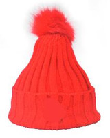 Wholesale Pink Skull Patch - Fashion Autumn Winter MON patch knitted hat women ball beanies skullies faux rabbit fur pompoms gorros outdoor bonnet hats for unisex caps