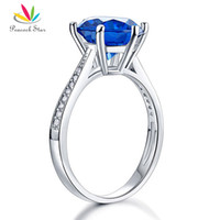 Wholesale Blue Star Sapphire Jewelry - Peacock Star 3 Blue Simulated Sapphire Wedding Promise Engagement Ring 925 Sterling Silver Jewelry CFR8211