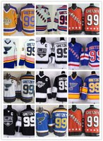Wholesale Nhl Hockey Rangers - Cheap New York Rangers 99 Wayne Gretzky Throwback Hockey Jerseys St. Louis Blues LA Los Angeles Kings Vintage NHL 99 Gretzky hockey jerseys