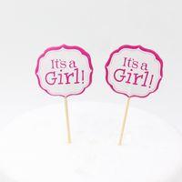 decoraciones de fiesta de cumpleaños para las niñas al por mayor-Al por mayor-Pink Girl y Blue Boy Party primeros de la torta decoración para los niños favores de la fiesta de cumpleaños suministros de decoración de la ducha de bebé