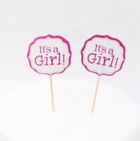partie de douche rose achat en gros de-Gros-Rose Fille Et Bleu Garçon Partie Gâteau toppers décoration pour enfants fête d'anniversaire favorise Baby Shower Décoration Fournitures