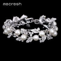 Dhgate Simulated Pearl Bracelets for Women Silver Color Link Chain Crystal Bridal Wedding Jóias Pulseiras Bangles SL089