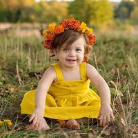 Wholesale Mini Gift Bows - Cute Baby girls clothes girls dress sleeveless Strap bow yellow 2017 Ins summer Backless bow dress Birthday gift dress for baby 100%cotton