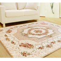 Wholesale European Floor Rugs - New European Floor Mats Embroidery Modern Carpet YJY Polyester Anti-skid Living Room Rug Living Dining Bedroom Carpet for Home
