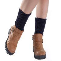 Wholesale Size Boots Korean - Wholesale-Korean Fashion Style 20cm Winter leg warmers for women,Girls Short Socks Knitting Leg Warmers Boot Cover Plus size Free Shipping