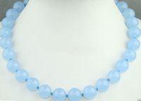 "Wholesale White Jade Gemstones - Fashion Handmade 10MM Natural Light Blue Jade Round Gemstone Necklace 18"" AAA"