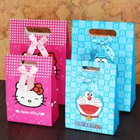 Wholesale Gift Wrapping Paper Cartoon - Large Gift Packaging Box Cartoon Color Hello-Kitty Gift Bags Portable Bag Happy Birthday Baby Paper Gift Wraps Festive