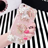 Luxus DIY Bling Strass Crown reine perle KT halterung Zurück abdeckung Mode klar transparent 3D telefonkasten für iphone 5 S 6 S 7 7 plus