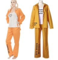 Wholesale Gangster Cosplay Costumes - 2017 new Harley Quinn Suicide Squad Print Prison Ladies Cosplay Costume Outfit Halloween