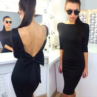 Wholesale Tall Women S Dresses - dresses woman fashion hot new sexy One word led bow long sleeve sexy backless tall waist S M L XL