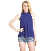 Wholesale Turtleneck Chiffon Blouses - 2017 Summer Women Sexy Halter Neck Shirts Elegant Sleeveless Chiffon Blouse Ruffles Turtleneck Off Shoulder Tops Blouses