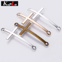 Wholesale Metal Connectors Cross - Kupla Cross Charms Metal Fashion Charms Connectors for Bracelets DIY Jewelry Making Religious Cross Charms 30pcs 21*50mm C5540