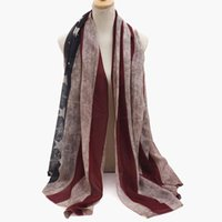 Wholesale American Flag Scarves - Fashion viscose Vintage American Flag Infinity Scarfs Snood USA Women voile Scarves Shawls