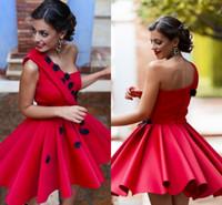 bir omuz el yapımı elbise toptan satış-2017 yeni varış kırmızı kokteyl elbiseleri el yapımı çiçekler bir omuz balo parti kıyafeti mini kısa homecoming mini parti dress kulübü özel