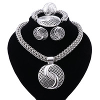 Wholesale Silver Costume Jewelry Sets - New Exquisite Dubai Jewelry Set Luxury Silver Plated Big Nigerian Wedding African Beads Jewelry Set Costume New Design
