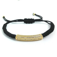 Wholesale Tube Beads Wholesale - Wholesale-Brand Anil Arjandas Men Macrame Bracelets,Gold Long Tube Micro Pave CZ Copper Noodle Beads Briading Macrame Bracelet