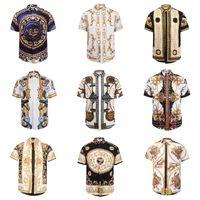 Wholesale Leopard Print Short Sleeve - Wholesa-newest 2017 fashion Wave Of Men 3D Floral Print Colour Mixture Luxury Casual Hara juku Shirts Short sleeve Medusa Shirts M--3XL