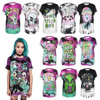 Wholesale Cute Aliens - 2017 Hot Style Cute 3D Devil Alien Space Digital Printing T-shirt Leisure Joker Short-sleeved Round Collar Quick-drying Render