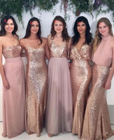 Rose Rosa Gold Brautjungfer Kleid Kaufen -2017 Brautjungfer Kleider Mix-and-Match Blush Pink Chiffon mit Rose Gold Sequined Stoff Boden Länge Mischung Styles Country Party Kleider