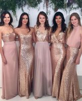 Wholesale Gold Sheath Fabric - 2017 Bridesmaid Dresses Mix-and-Match Blush Pink Chiffon with Rose Gold Sequined Fabric Floor Length Mixture Styles Country Party Gowns