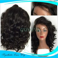 Wholesale wig bangs auburn - Wholesale Synthetic lace front wig black body wave with bangs heat resistant synthetic lace front wig for black women lace wig