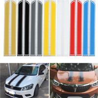 Wholesale Sticker 24cm - Wholesale- Universal 130cm x 24cm Car Hood Scratched Stickers Engine Cover Styling Reflective Decal Stripe Vinyl DIY Decoration PVC