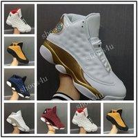 Wholesale Platinum Jumps - With Box 2017 Mens Basketball Shoes 13 Air Jump men Retro Brave Blue GS Pure Money White Metallic Silver Platinum Sports Sneakers US8-US13