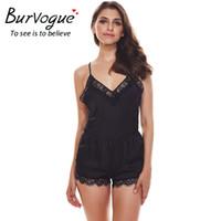 Wholesale Black Lingerie Bodysuits - Burvogue New Sexy Bodysuits Women Lace Lingerie Teddies Babydolls Bodysuit Deep V Underwear Erotic Lingerie Body Suit romper