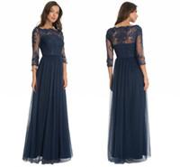 vestido de novia de encaje de tul azul al por mayor-2017 elegante azul marino de tul una línea de vestidos de madre escote redondo Sheer mangas tres cuartos palabra de longitud formal de la boda vestidos de noche