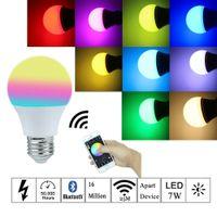 bombillas de varios colores al por mayor-Bombilla inteligente Nuevo bluetooth bombilla led 7W blanco cálido blanco y color RGB E27 Bluetooth 4.0 controlado por teléfono inteligente Bombilla regulable
